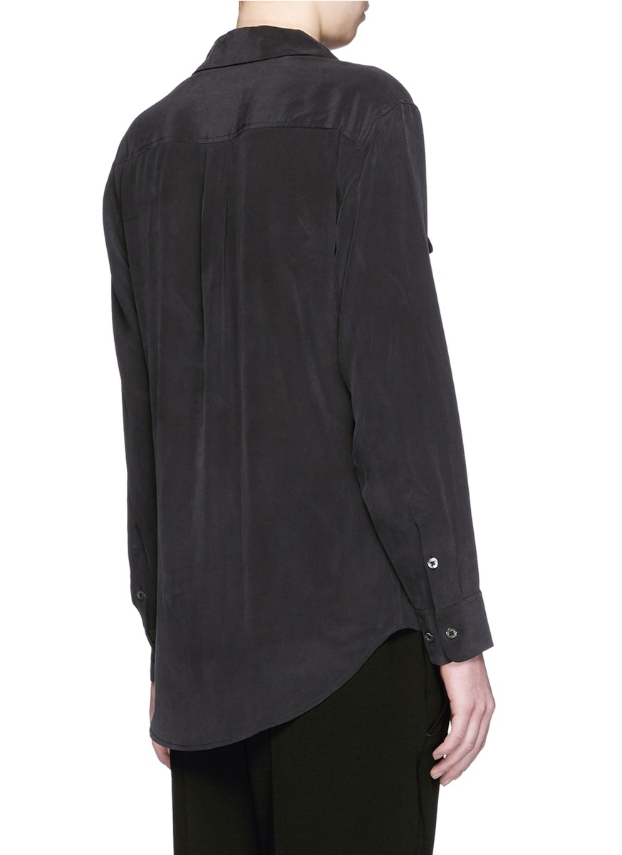 Equipment 39 knox 39 lace up silk shirt in black lyst for Equipment black silk shirt