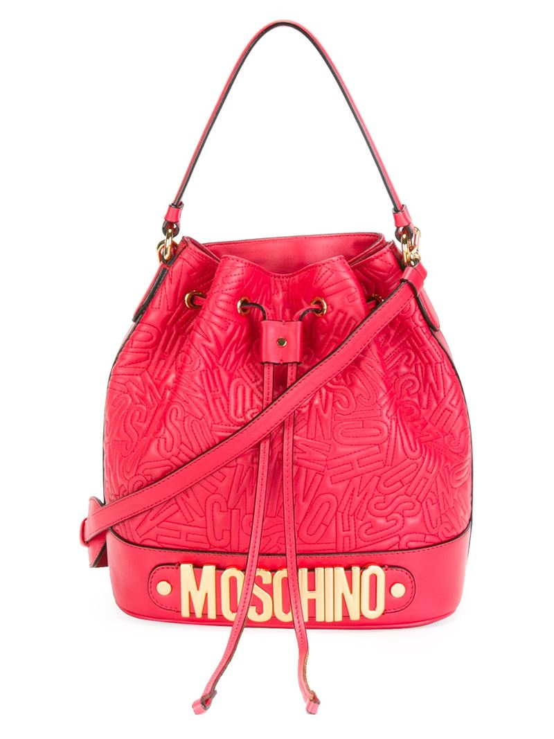 634cab35b2d0f Moschino Logo Embossed-Leather Bucket Bag in Red - Lyst