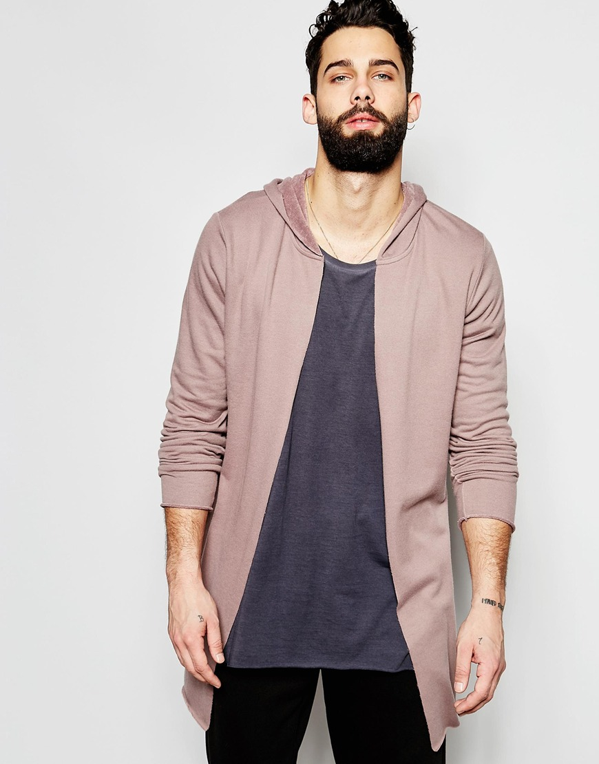 Asos Super Longline Hooded Cardigan In Dusky Pink in Pink for Men ...
