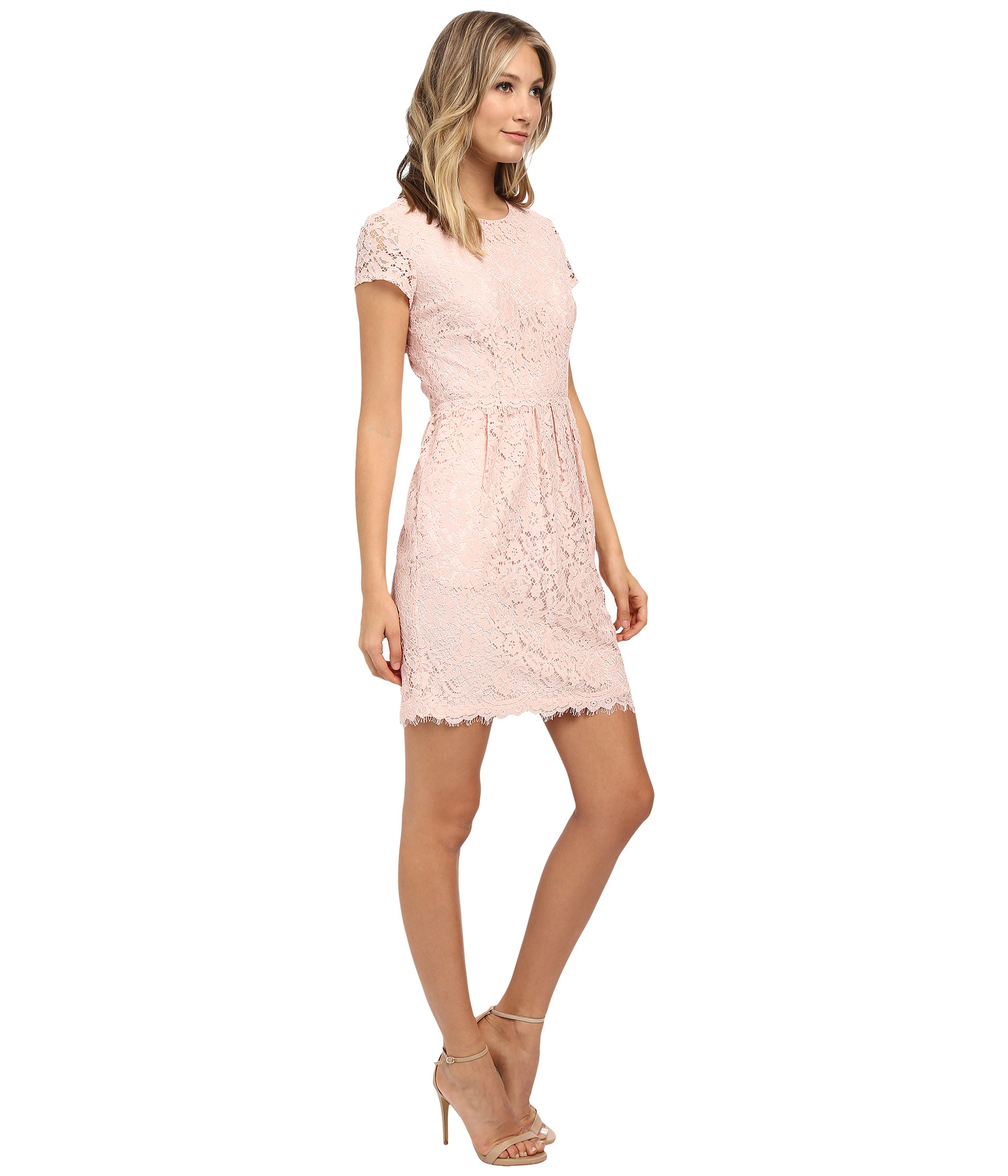 Donna morgan Short Sleeve Lace Dress W/ Rouched Waist in Pink | Lyst
