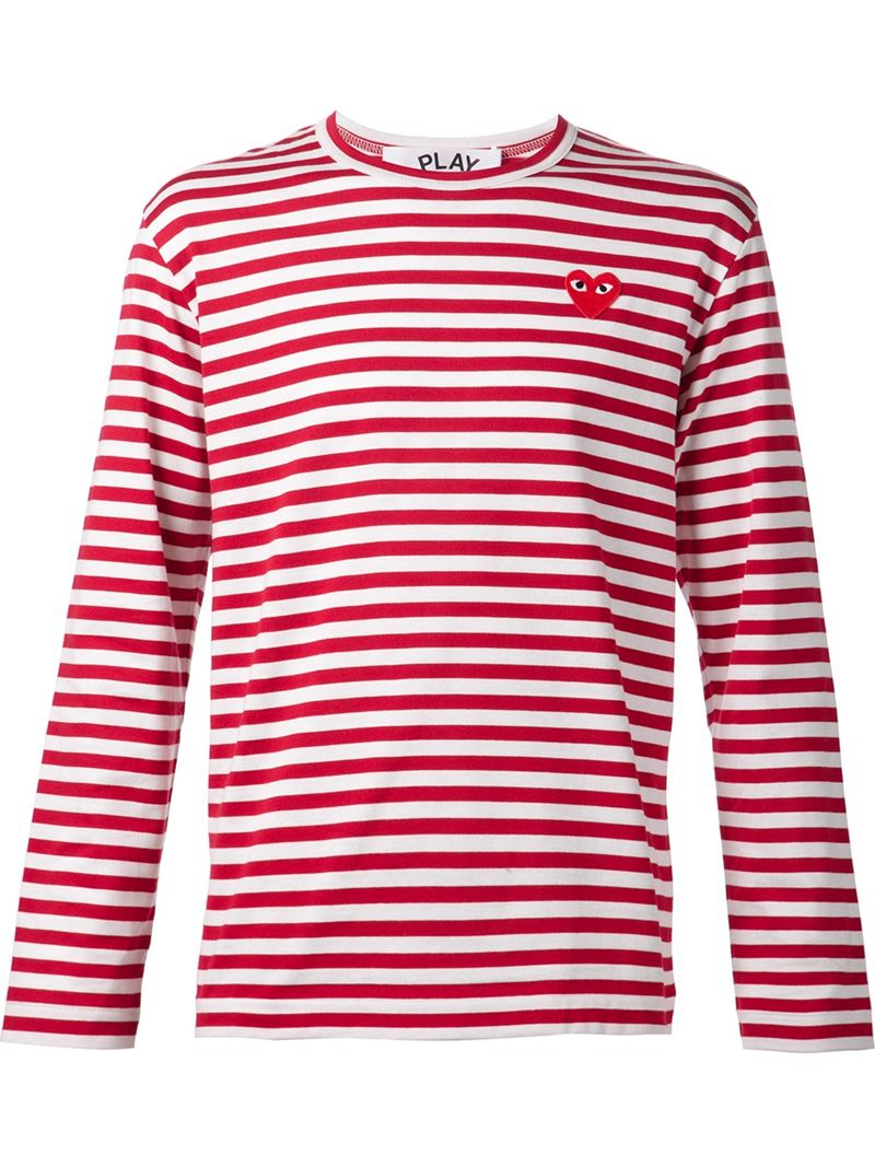 play comme des gar ons striped t shirt in red for men lyst. Black Bedroom Furniture Sets. Home Design Ideas