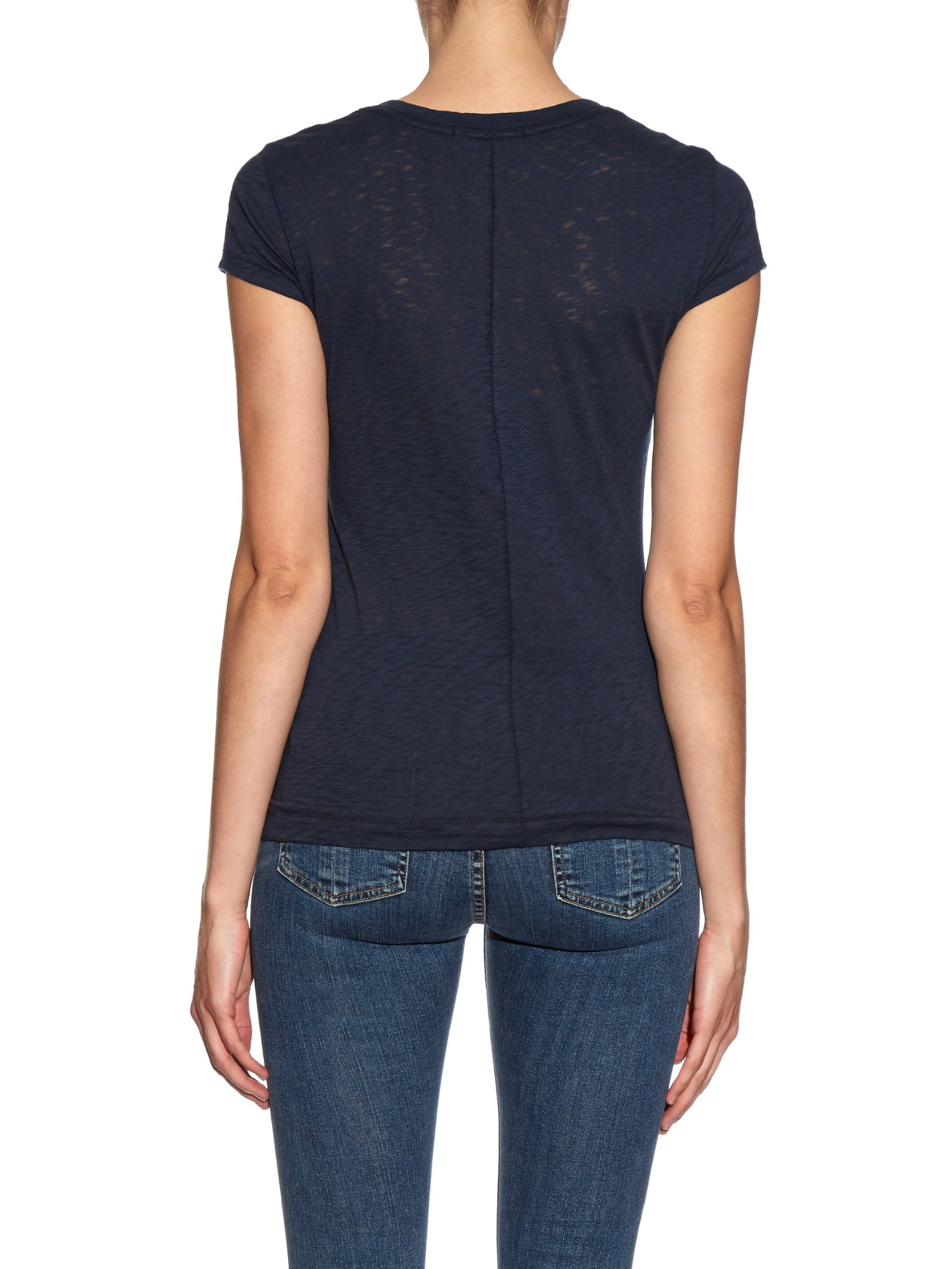 Lyst Rag Bone The Classic Cotton Jersey T Shirt In Blue