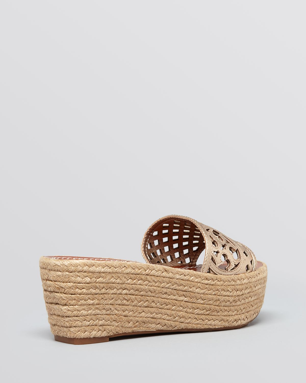 437e7cadbea Tory Burch Platform Wedge Espadrille Sandals - Thatched Perforated ...