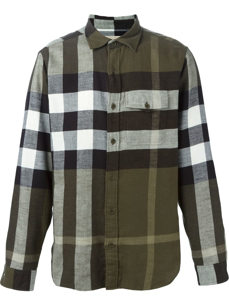 Burberry brit checked shirt in green for men lyst for Burberry brit green plaid shirt