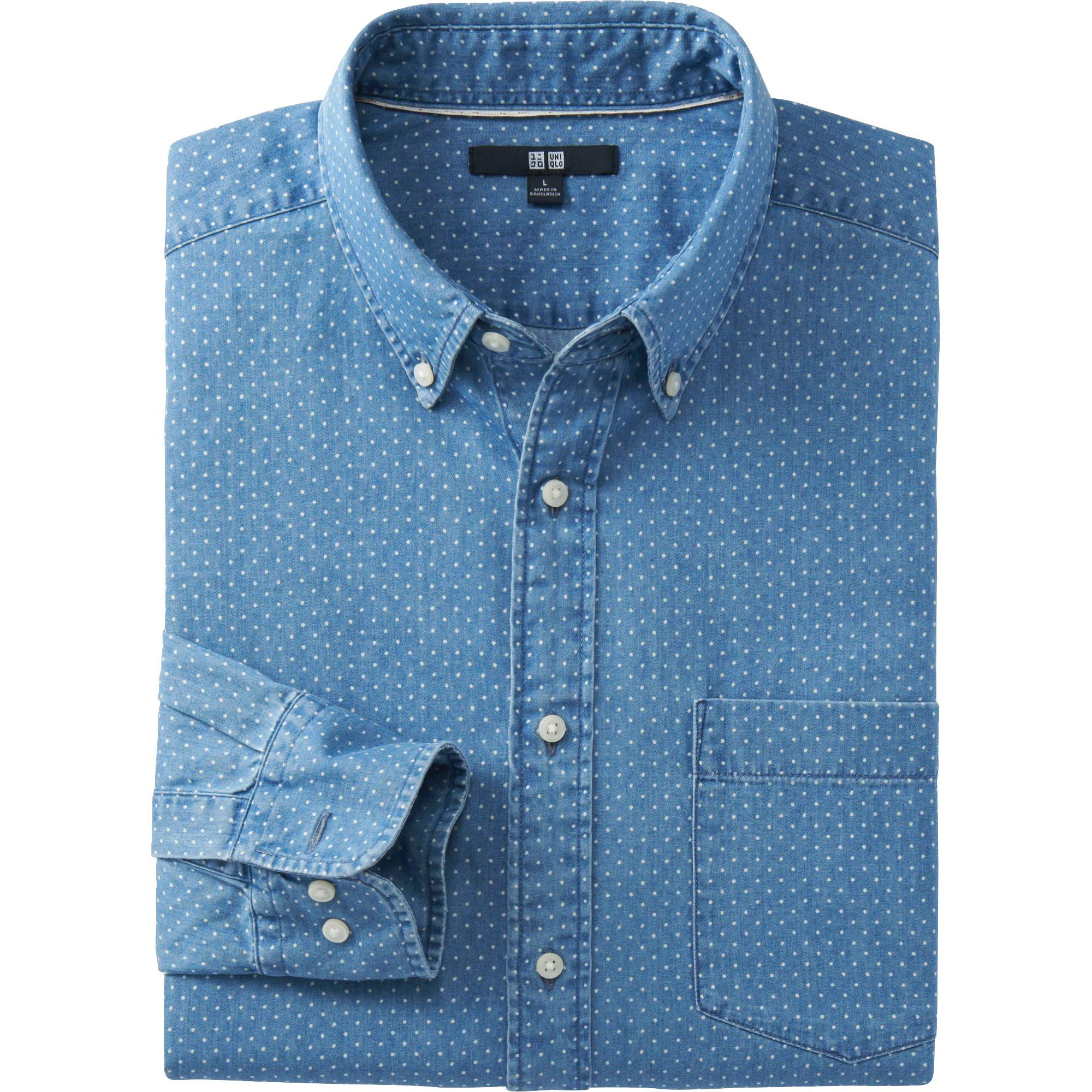 Uniqlo Blue Men Denim Printed Long Sleeve Shirt For Men