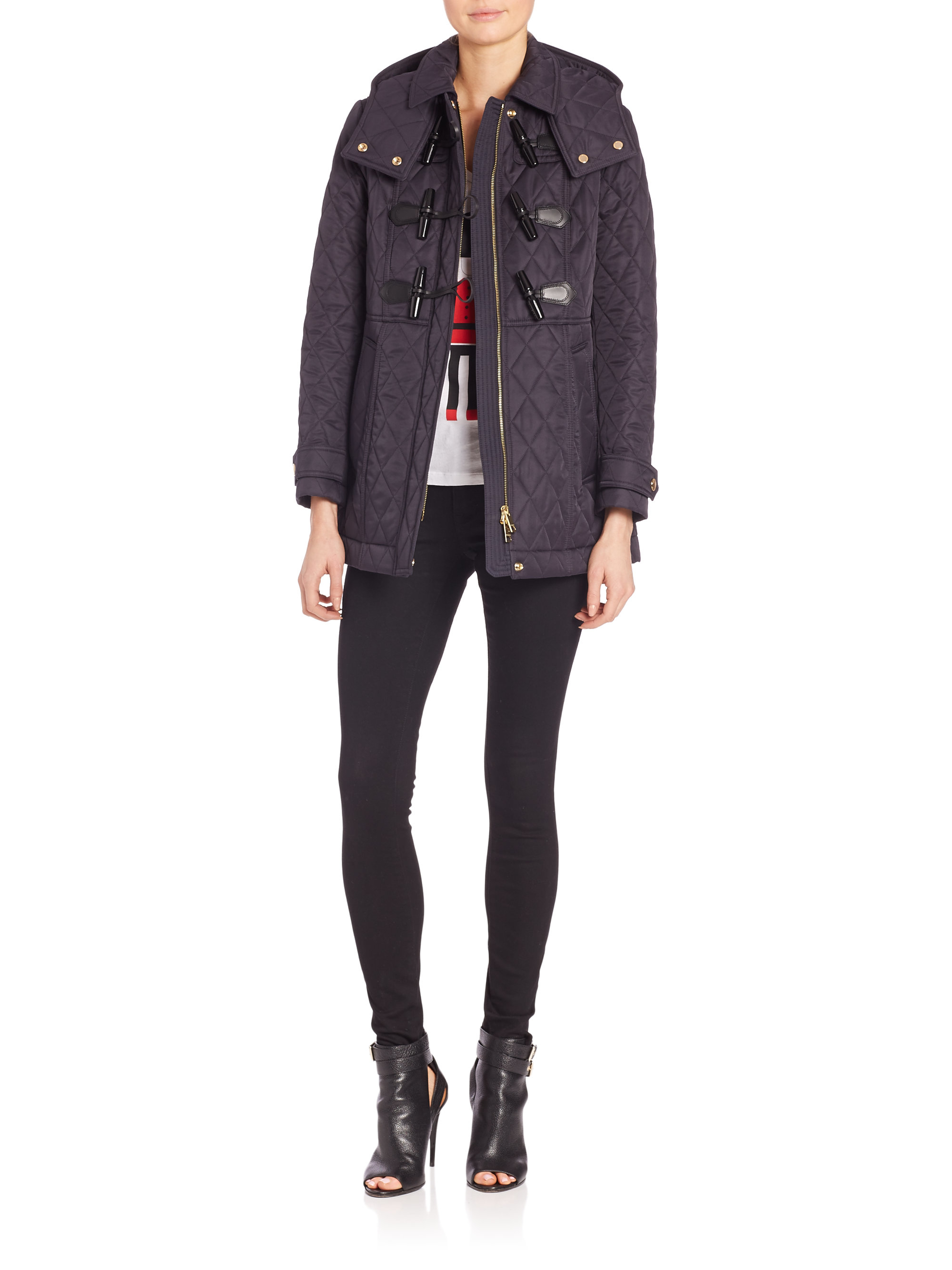 Burberry Blackston Quilted Duffle Coat in Blue | Lyst