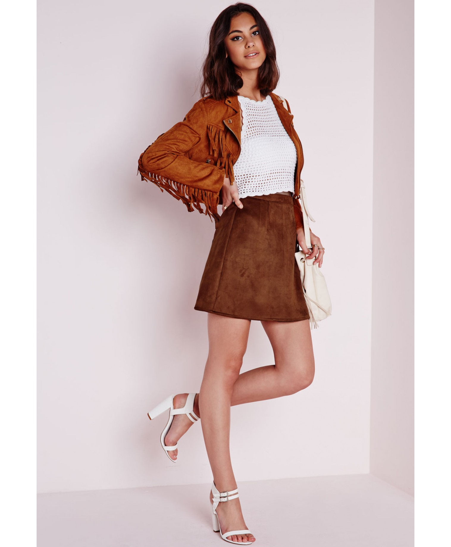 A Line Brown Skirt - Dress Ala