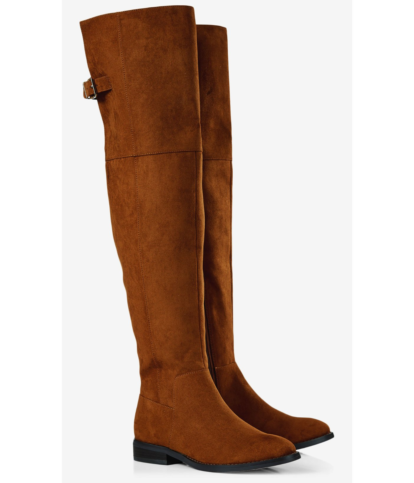 Express Faux Suede Over-the-knee Flat Boot in Brown | Lyst