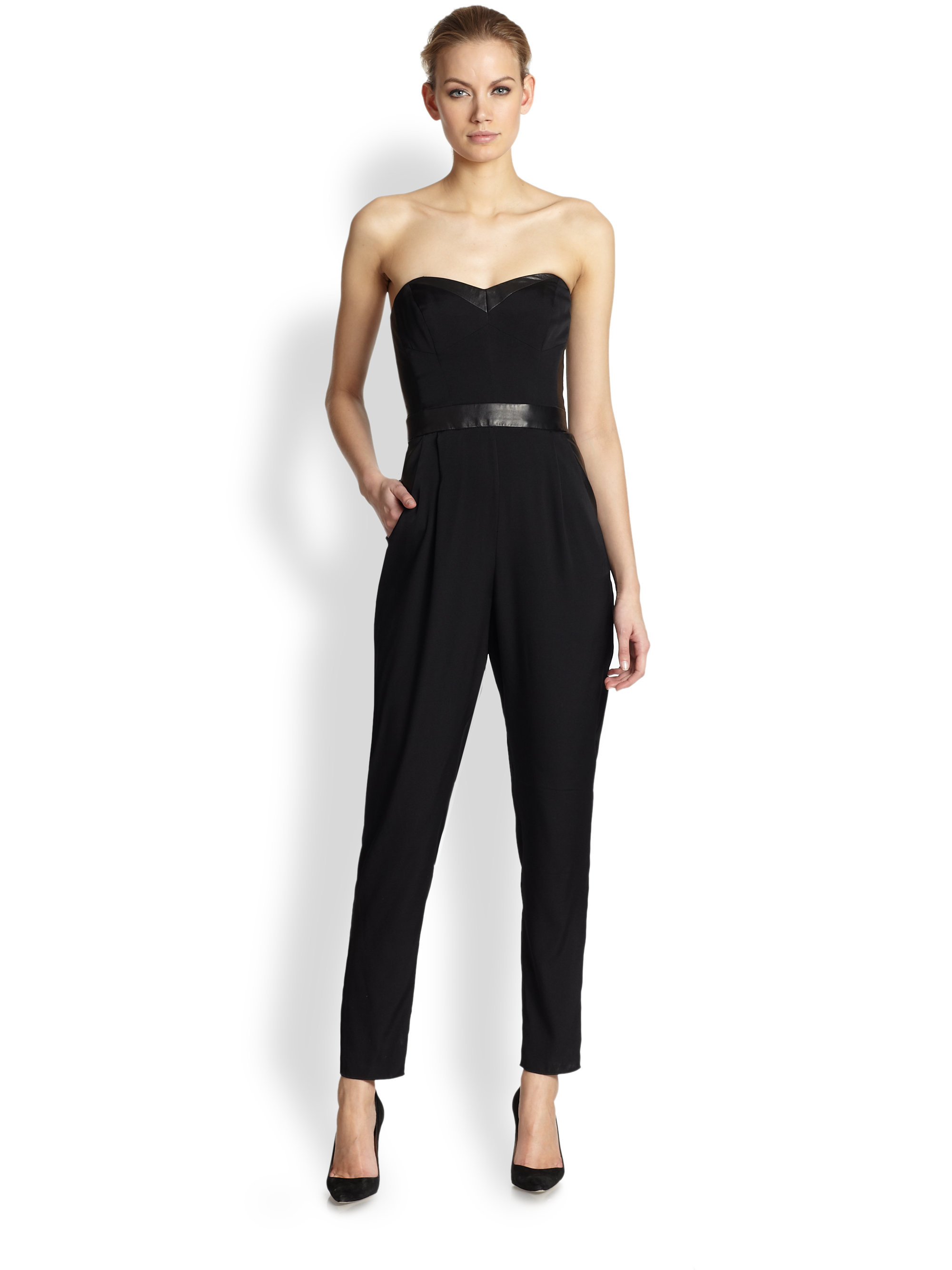 67a4b7826ab5 Lyst - MILLY Strapless Bustier Jumpsuit in Black
