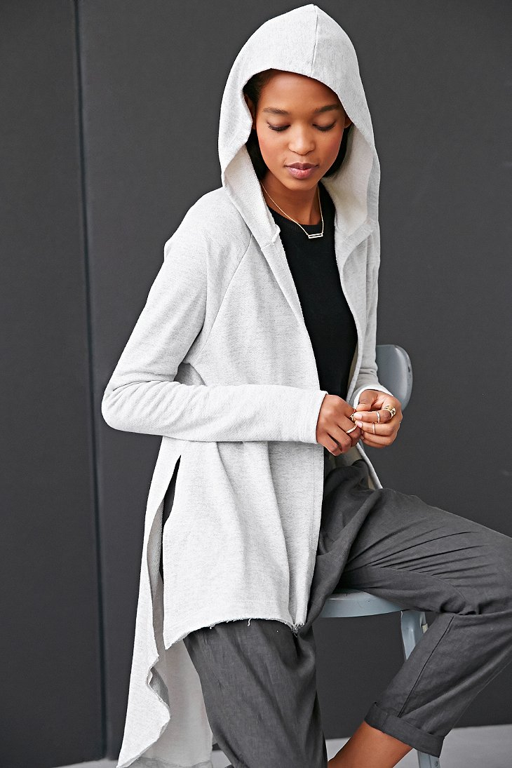 Project social t Seamed High/Low Open-Front Cardigan in Gray | Lyst