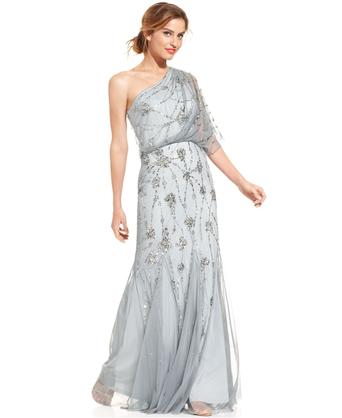 Lyst Adrianna Papell Oneshoulder Beaded Blouson Gown In Gray