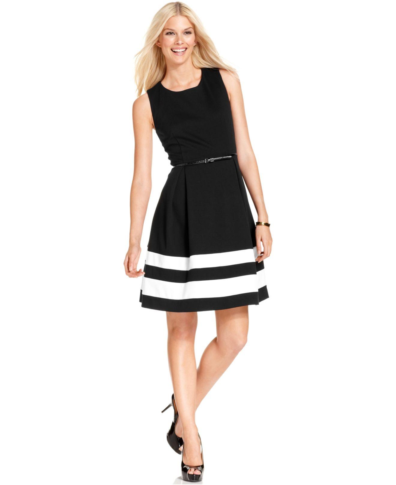 Calvin klein Sleeveless Belted Stripe Dress in Black | Lyst
