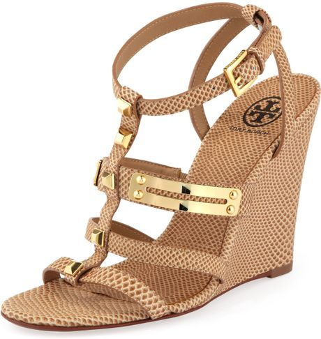 Tory Burch Iliana Snakeprint Gladiator Wedge Clay Beige in Brown (CLAY BEIGE) - Lyst