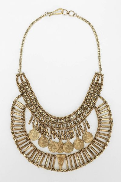 outfitters coin bib necklace in gold lyst