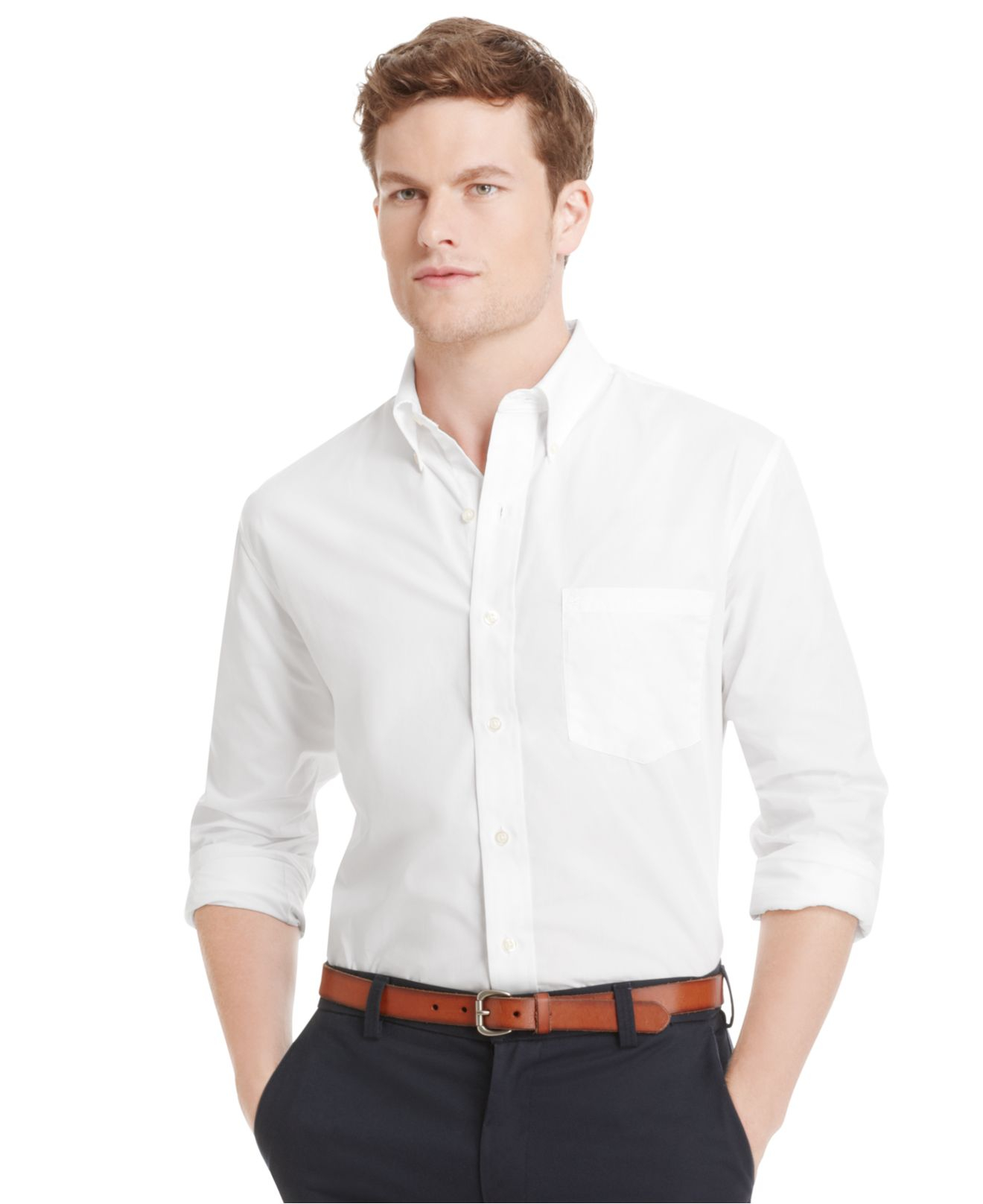 izod big and tall essential solid long sleeve shirt in