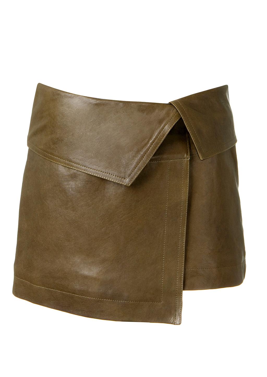 marant bronze wraparound leather skirt in gold