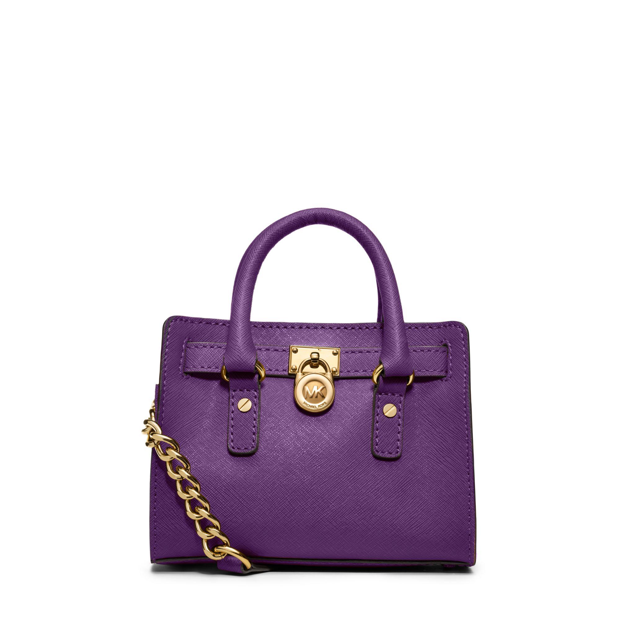 0a361c8345d9 Lyst - Michael Kors Hamilton Saffiano Leather Mini Messenger in Purple