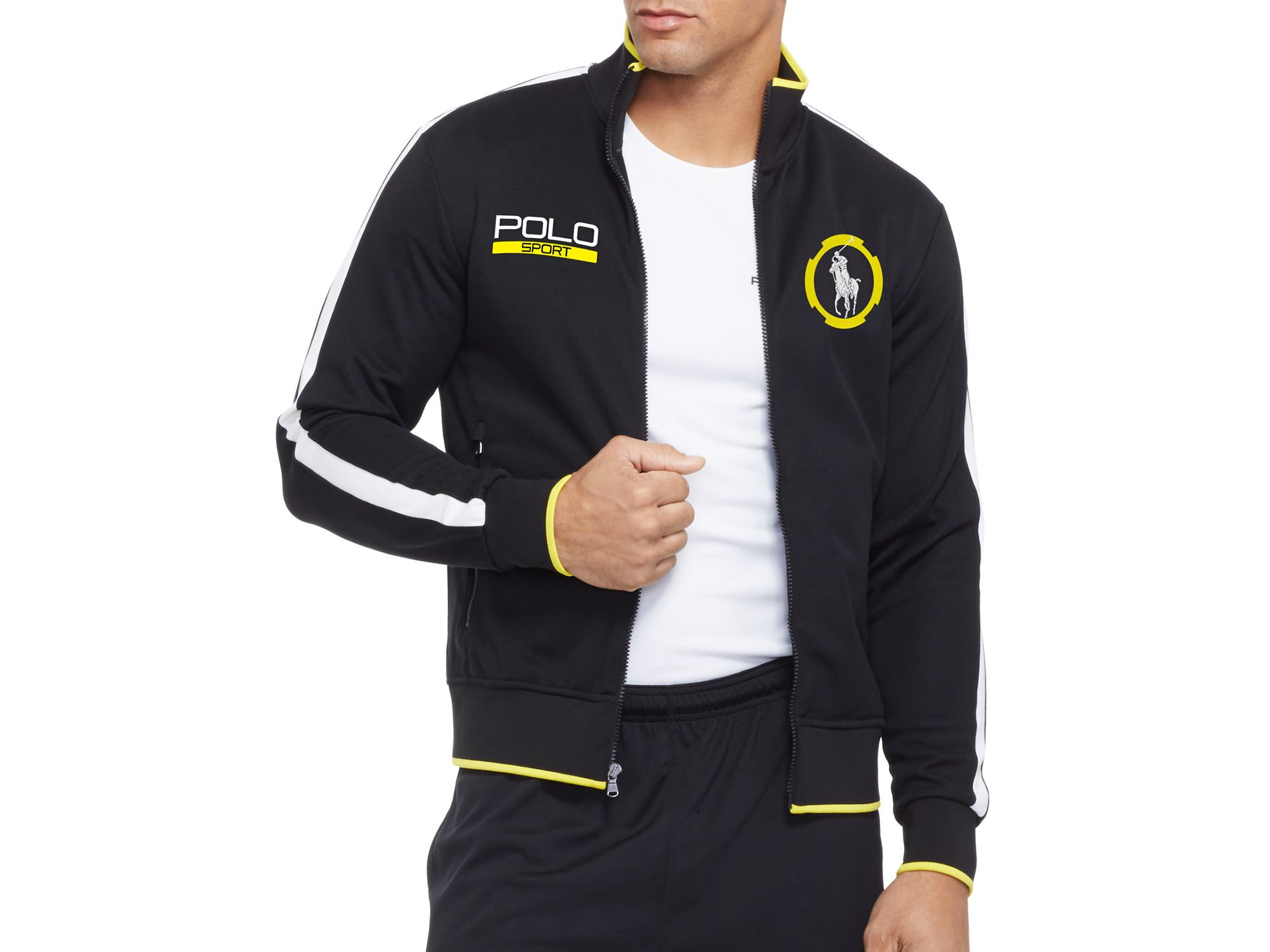 ralph lauren polo sport cotton blend piqu track jacket in. Black Bedroom Furniture Sets. Home Design Ideas