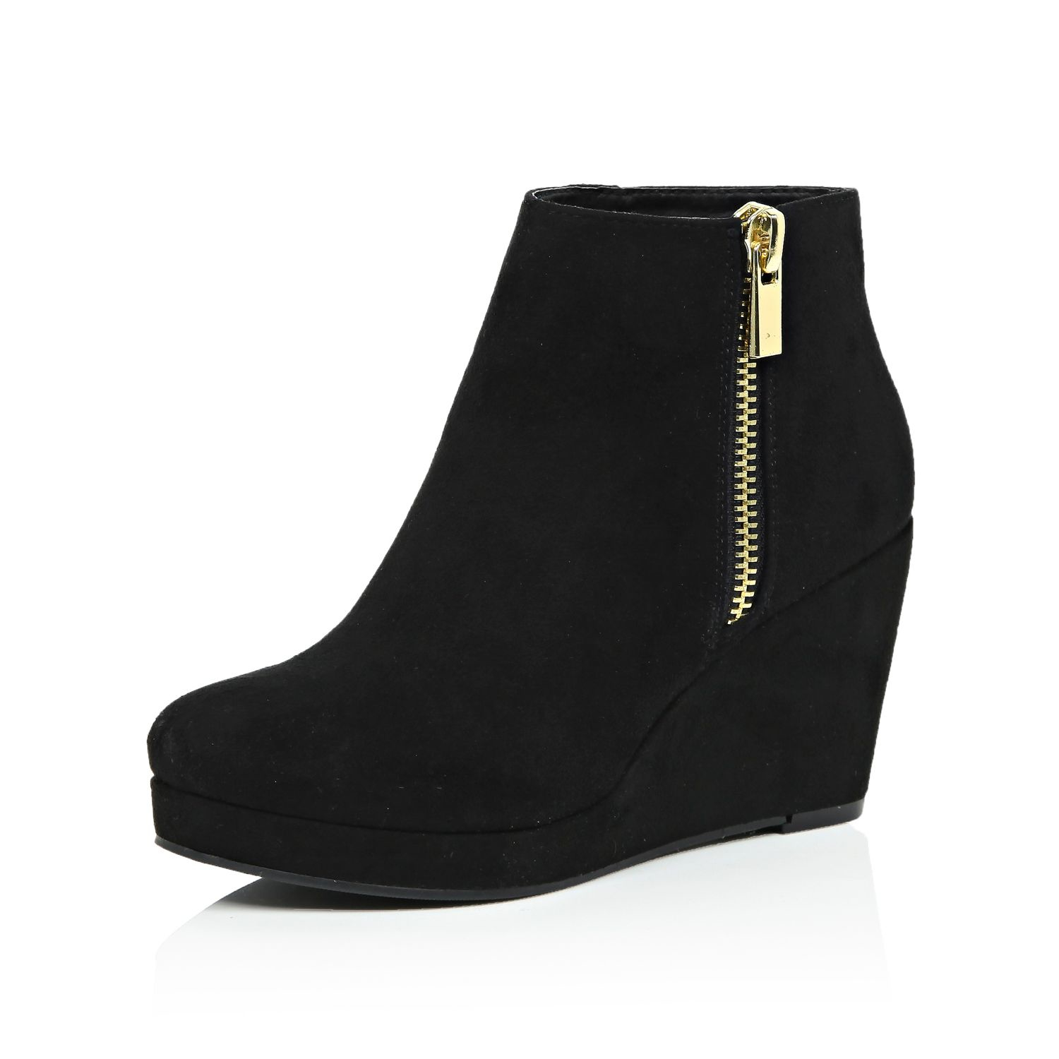 river island black wedge ankle boots in black lyst