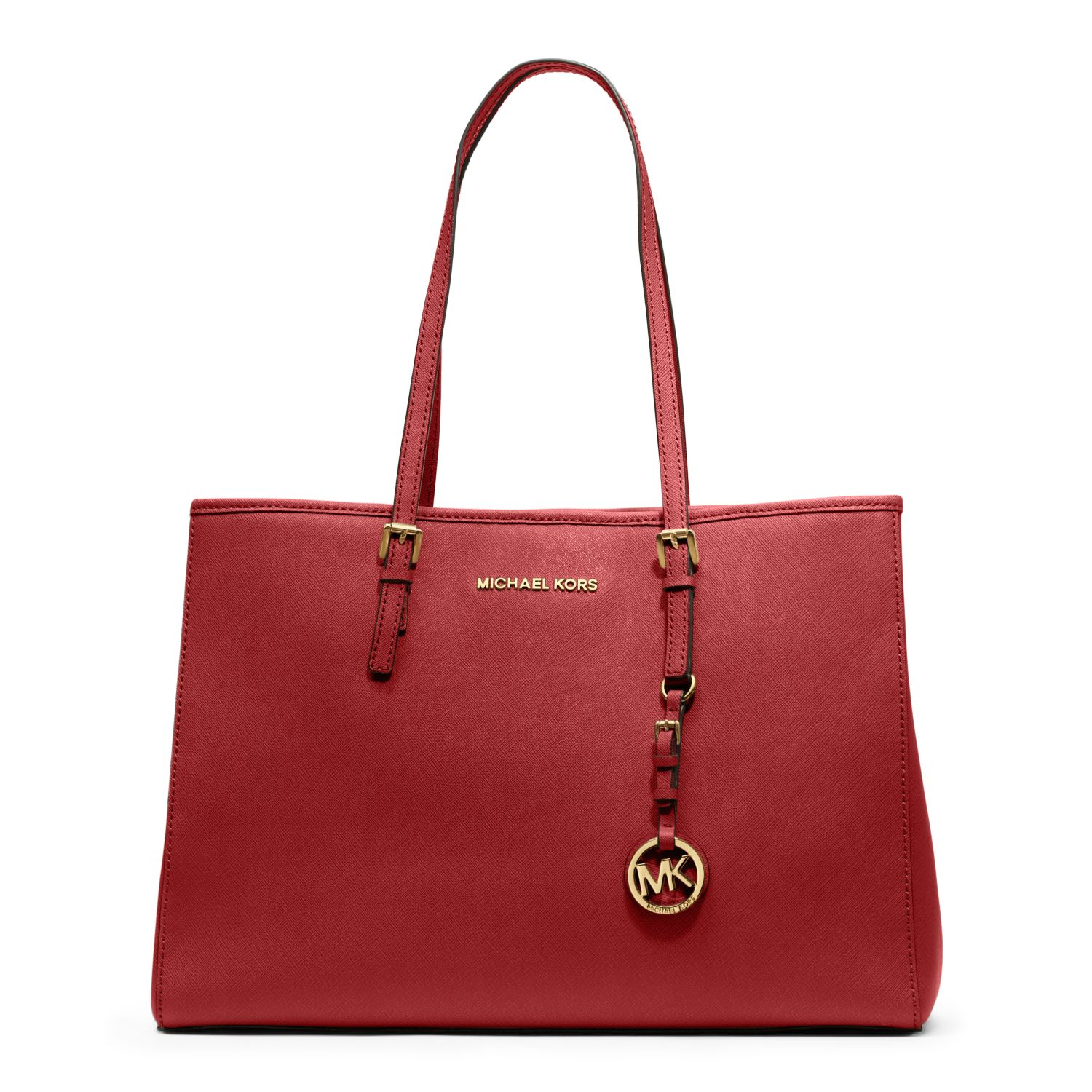 michael kors jet set travel saffiano leather tote in red. Black Bedroom Furniture Sets. Home Design Ideas