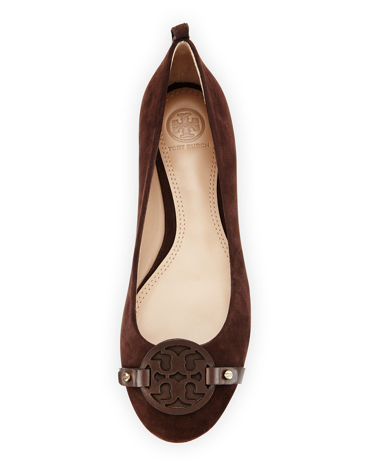 b603a3a1c07e31 Lyst - Tory Burch Mini Miller Suede Logo Flat in Brown