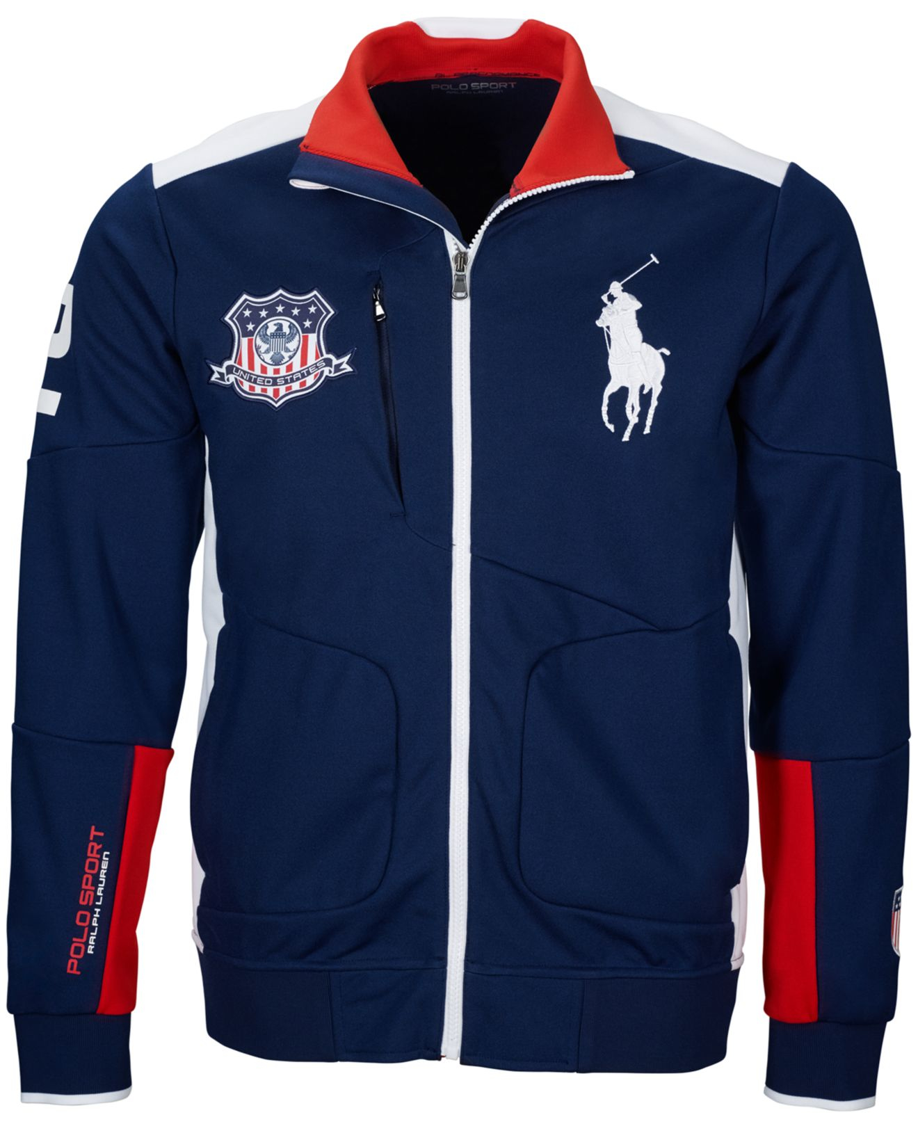 polo ralph polo sport usa zip track jacket in