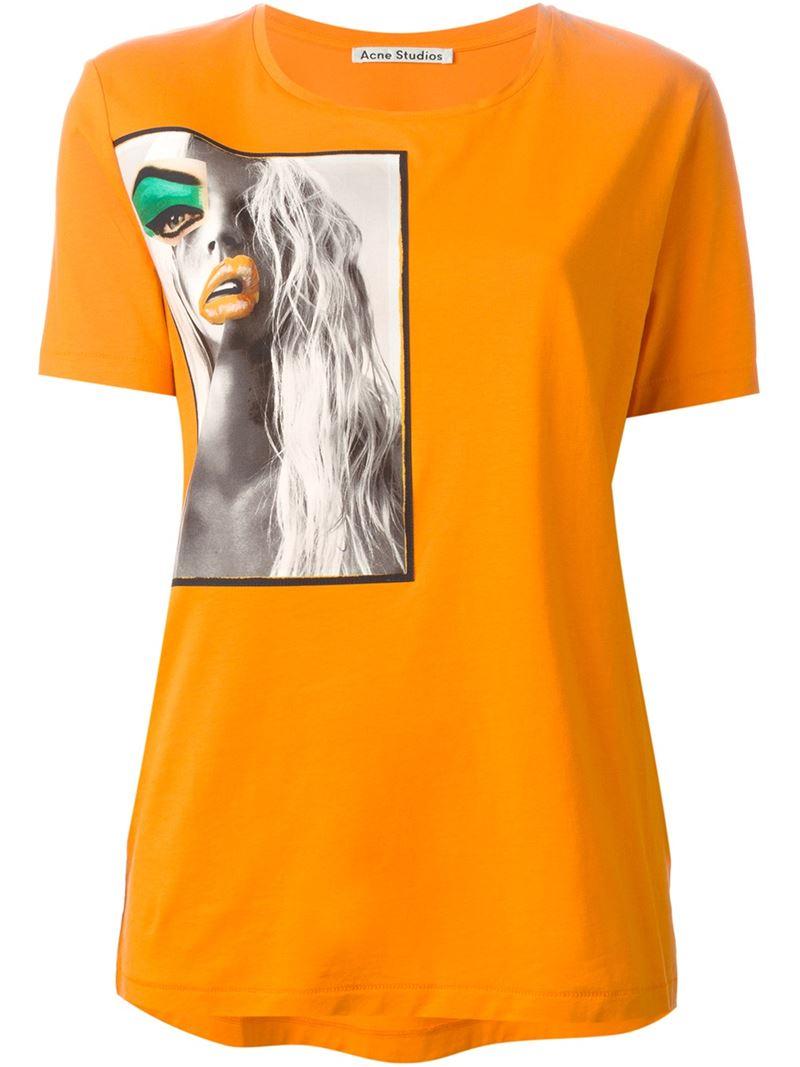 Lyst Acne Studios Vista Portrait Print T Shirt In Orange