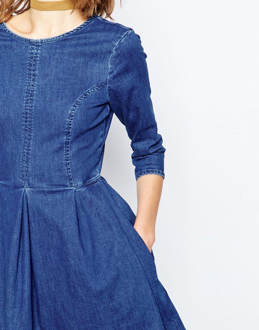 5fcd585dadc4 Lyst - Asos Denim Skater Dress In Mid Blue Wash in Blue