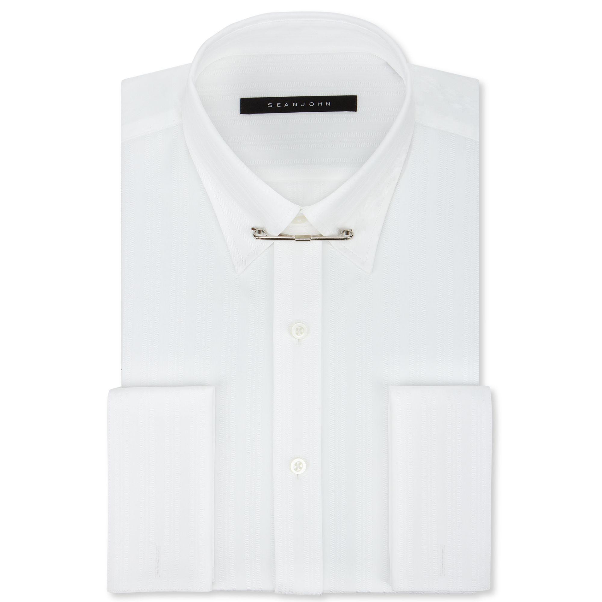 Sean john white texture french cuff shirt with collar bar for White french cuff shirt