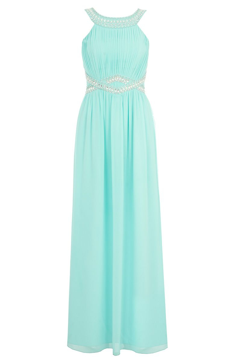 Quiz Aqua Chiffon Embellished Maxi Dress in Blue | Lyst