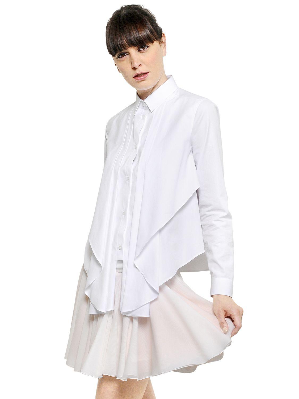 Viktor Rolf Fall 2016 Couture Fashion Show: Viktor & Rolf Ruffled Cotton Poplin Shirt In White