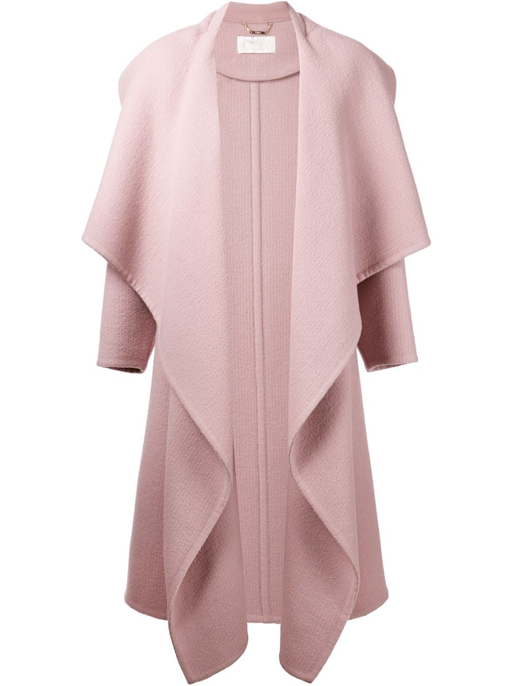 Chloé Draped Front Coat in Pink | Lyst