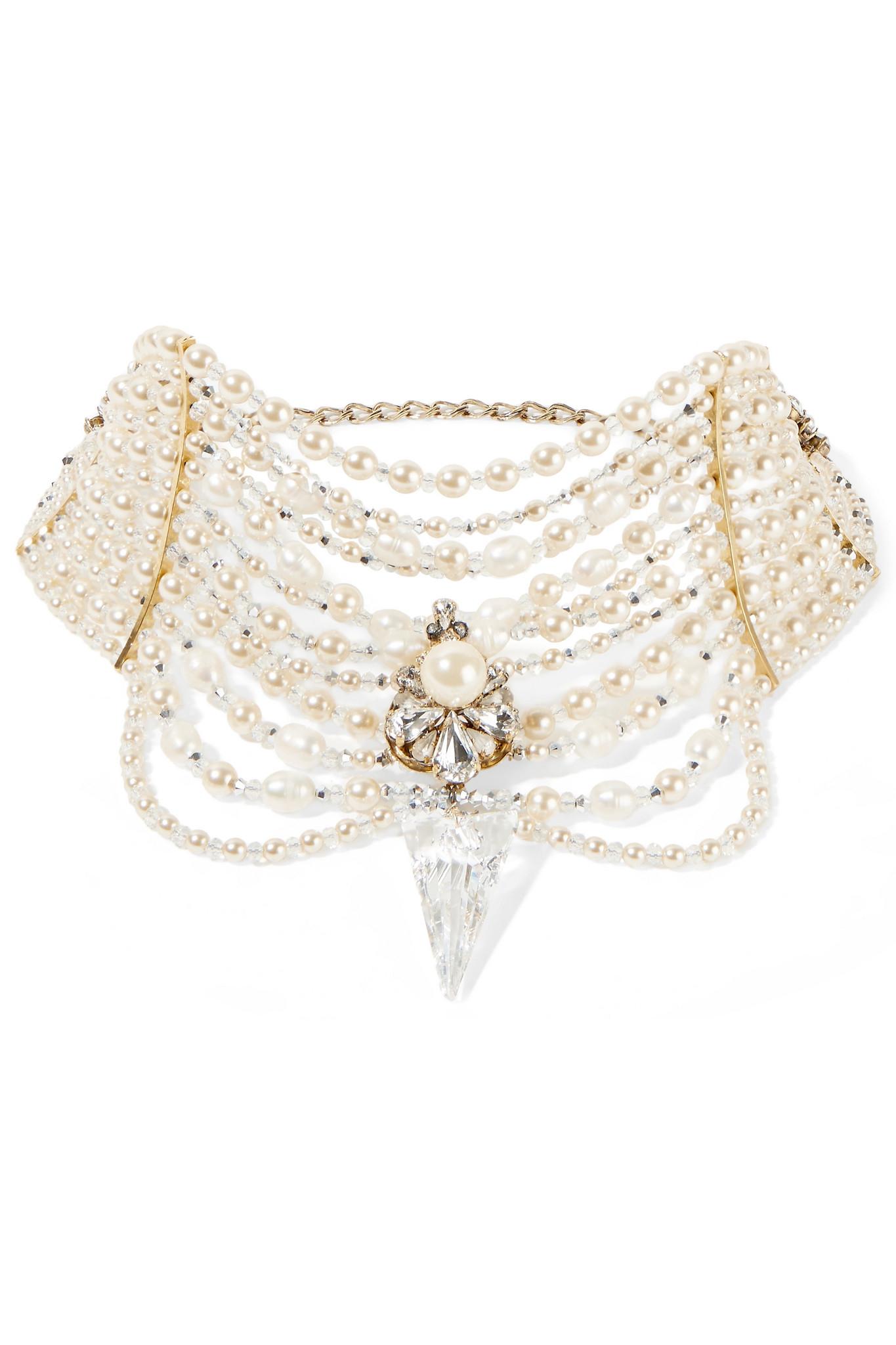Erickson Beamon Born Again Gold-plated, Swarovski Crystal And Faux Pearl Choker - Ivory
