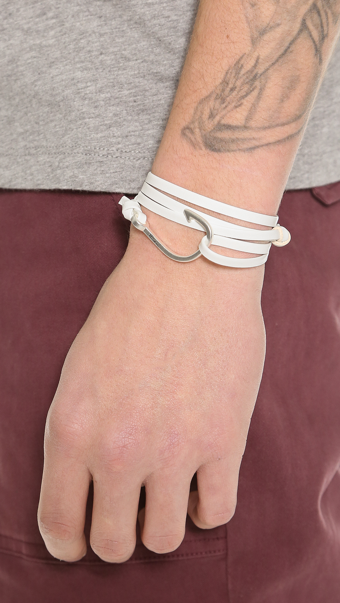 Miansai Leather Hook Bracelet (White) Bracelet XKhuKjtwJ