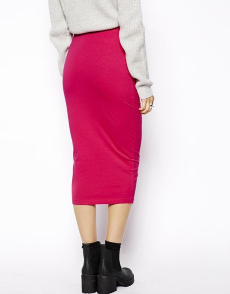 asos midi pencil skirt in jersey in pink lyst