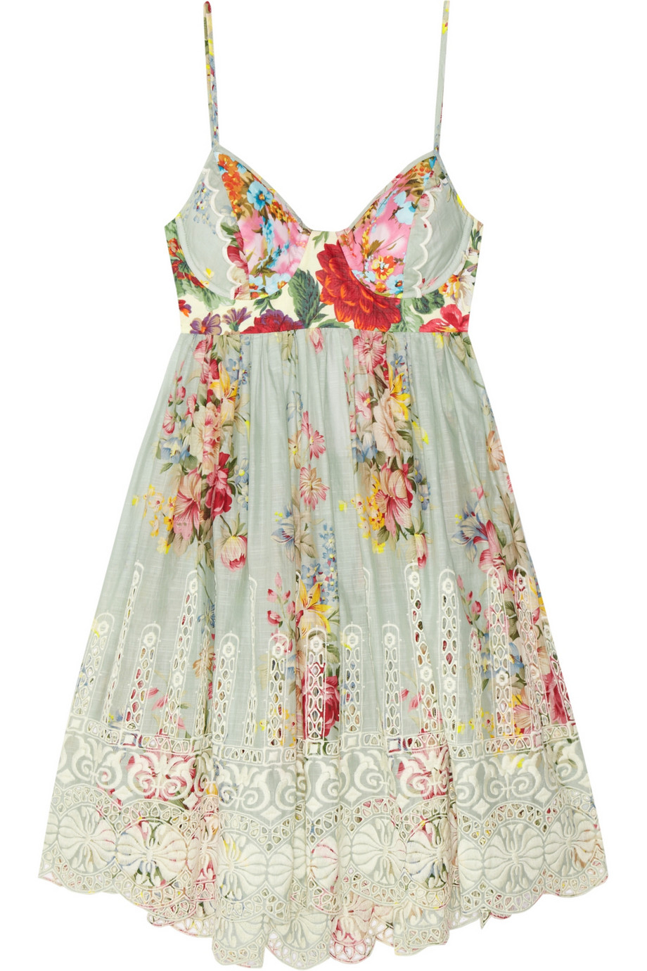 Lyst Zimmermann Sundance Embroidered Cotton Dress In Green