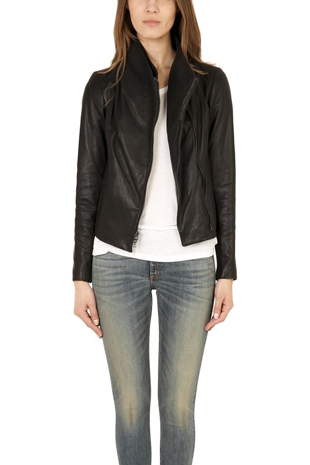 Vince Leather Scuba Side Zip Jacket In Black Lyst
