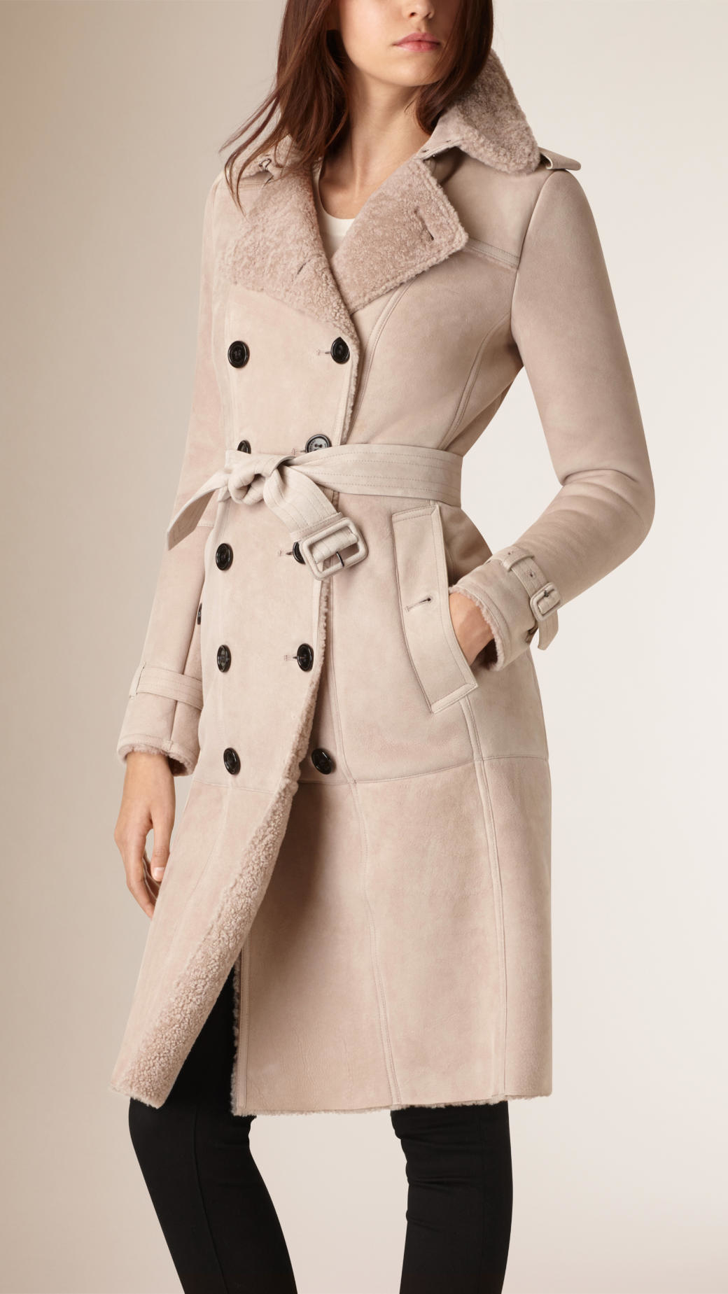 Burberry Shearling Trench Coat in Purple | Lyst