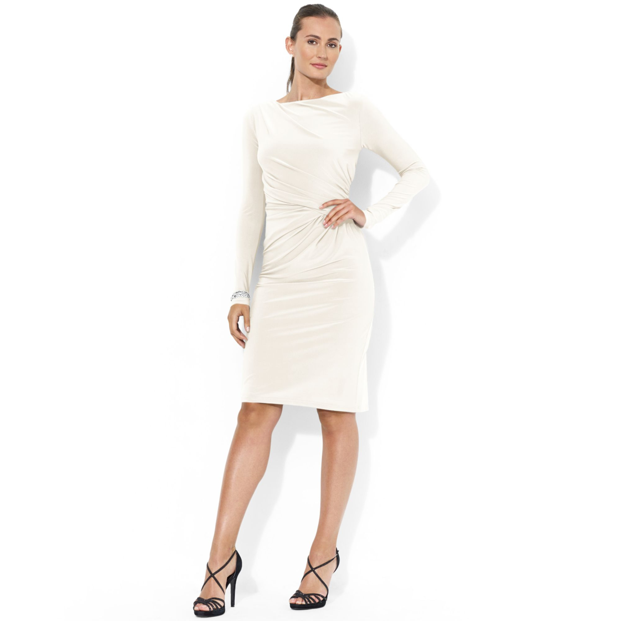 lauren by ralph lauren longsleeve ruched jersey dress in white lyst. Black Bedroom Furniture Sets. Home Design Ideas