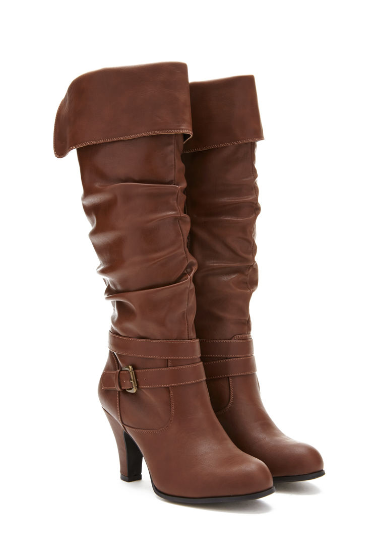 Lyst Forever 21 Heeled Knee High Boots In Brown