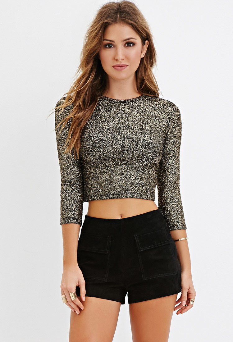 21 Best Images About Cute Boys On Pinterest: Forever 21 Metallic-flecked Crop Top In Black