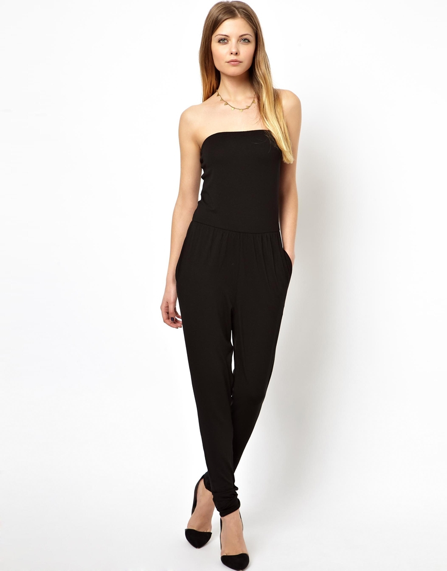 Asos Bandeau Jumpsuit in Black | Lyst