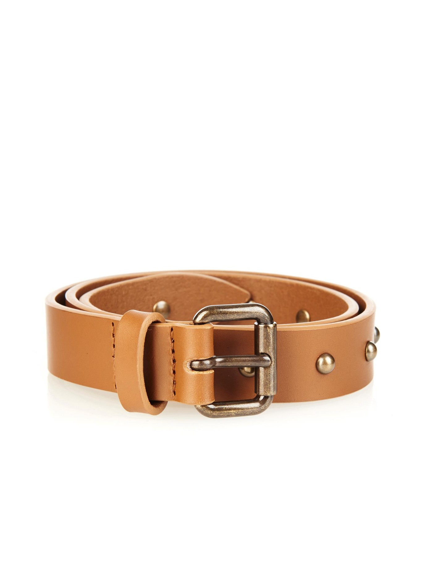 tomas maier studded leather belt in brown lyst