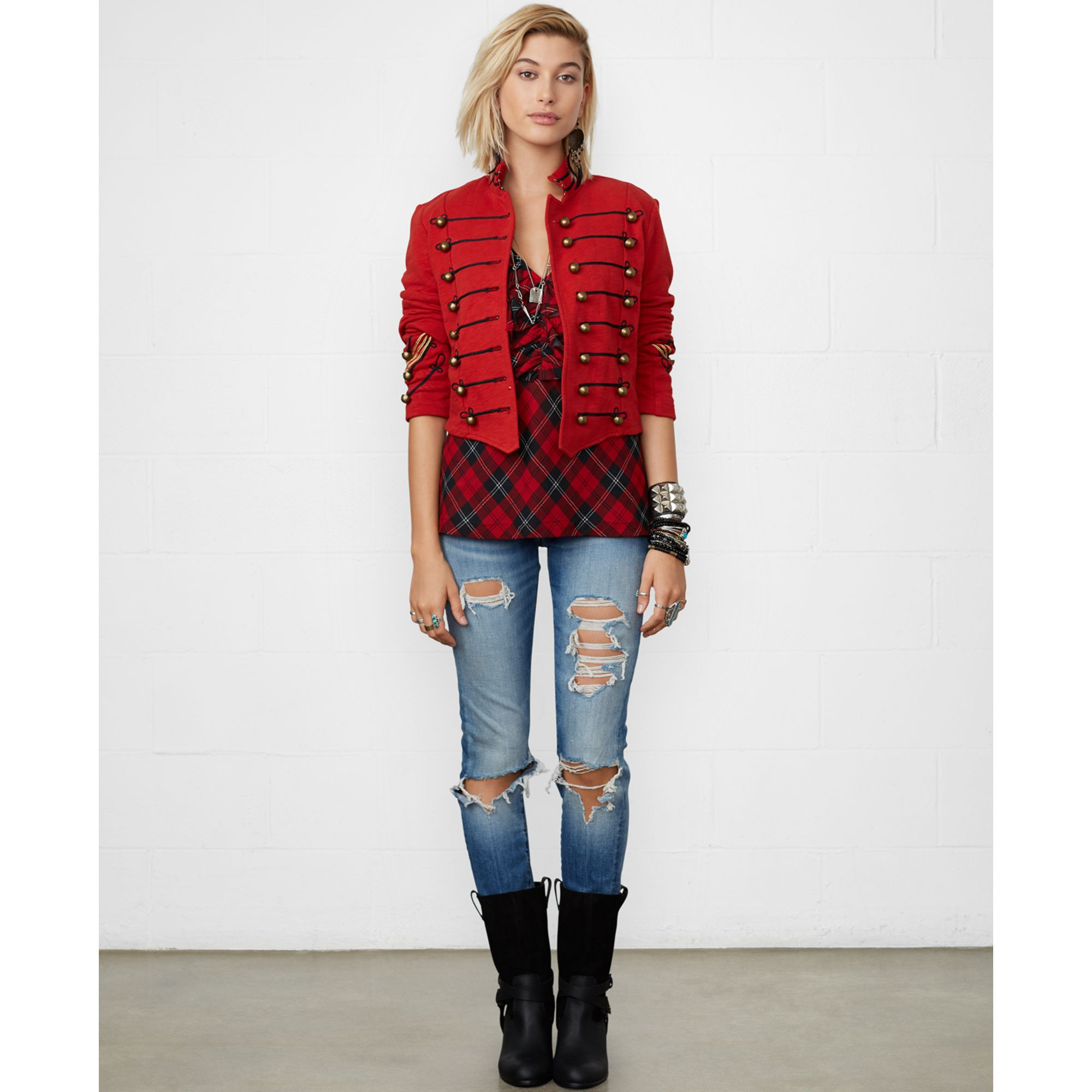 Denim Amp Supply Ralph Lauren Cropped Military Jacket In Red