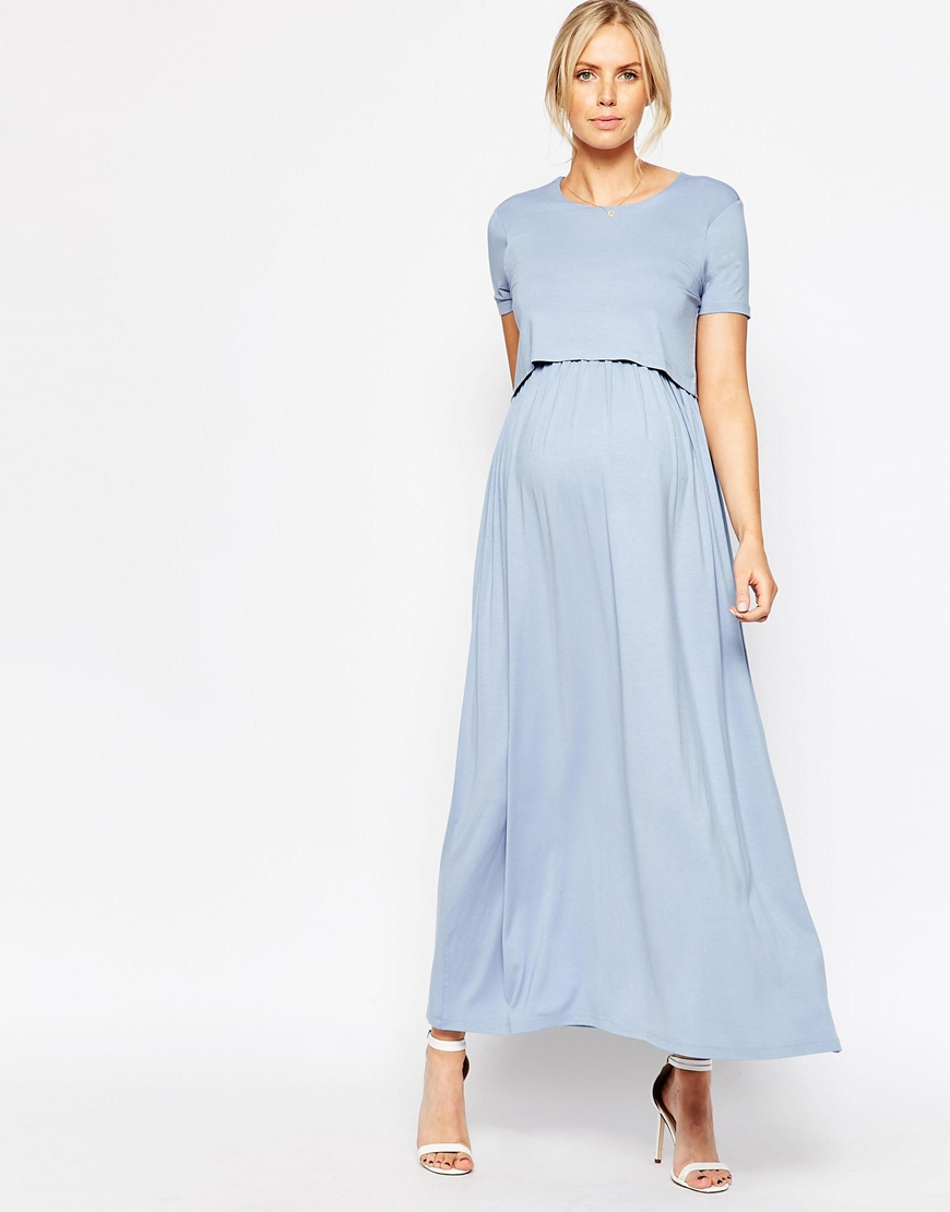 Asos Nursing Maxi Dress With Double Layer In Blue | Lyst