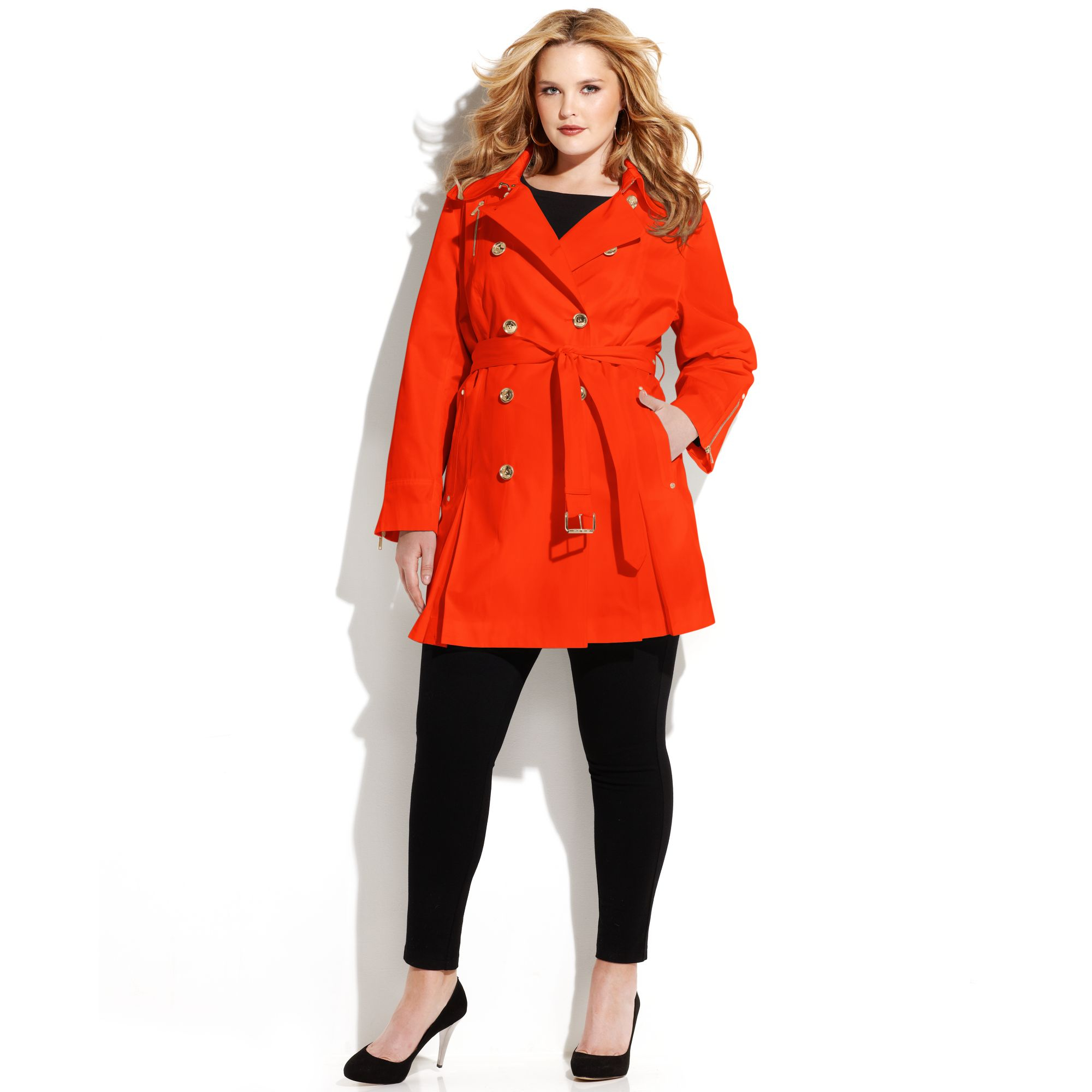 Michael kors Plus Size Double Breasted Belted Trench Coat in Red ...