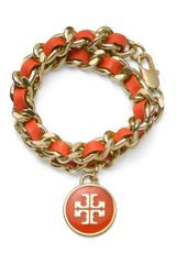 Tory Burch Leather and Chain Double Wrap Bracelet - Lyst