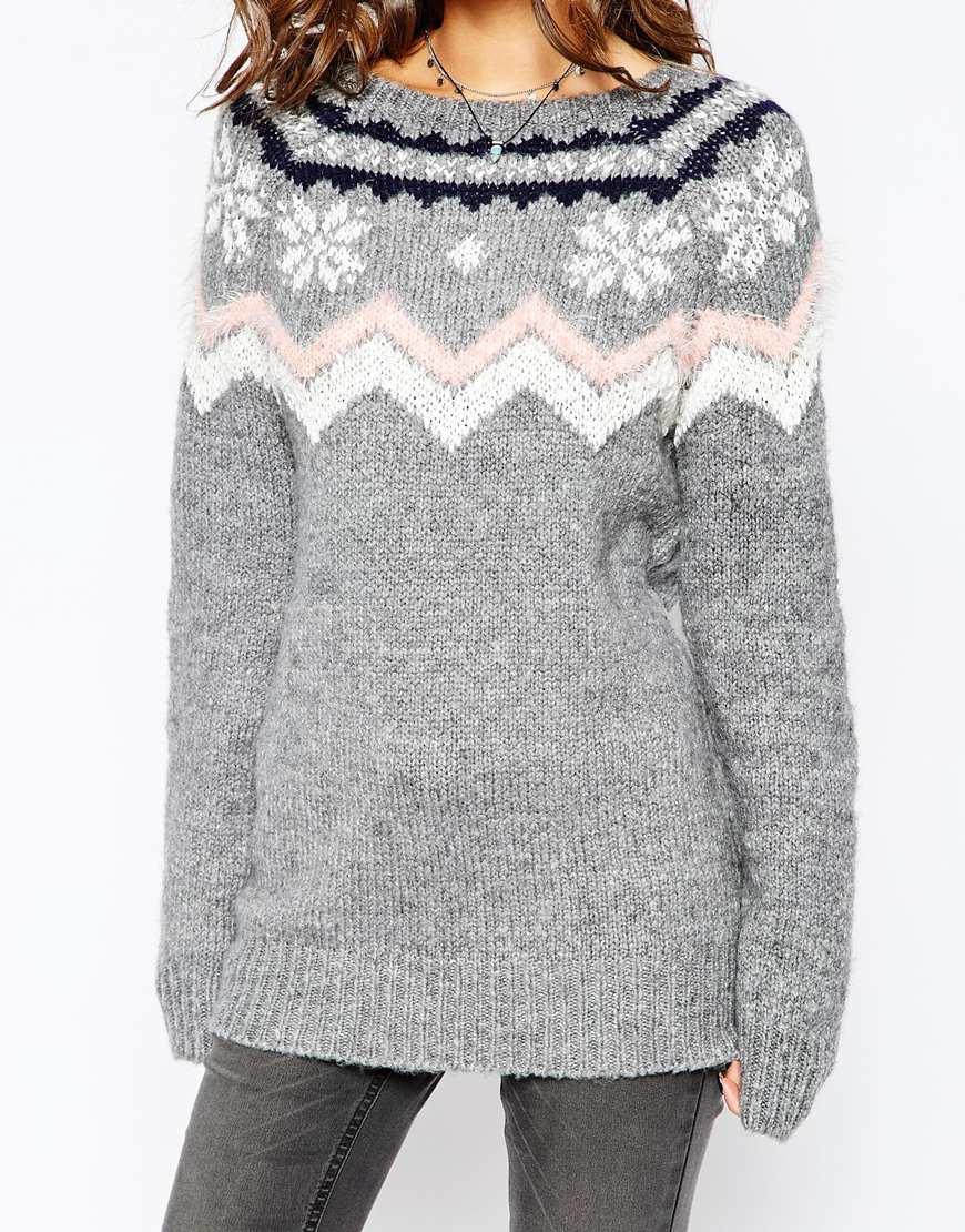 Fashion union Fairisle Snowflake Patterned Sweater in Gray | Lyst