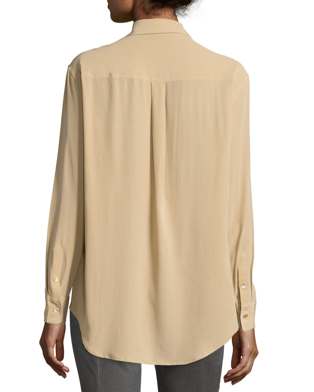 Equipment black silk blouse peach chevron blouse for Equipment black silk shirt