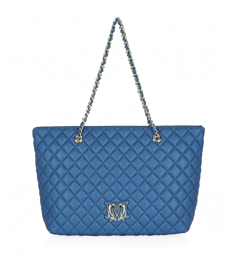 love moschino quilted logo shopper bag in blue lyst. Black Bedroom Furniture Sets. Home Design Ideas